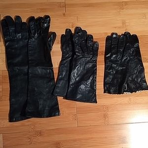 Lot of 3 genuine leather gloves